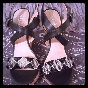 A.n.a Beaded Wedge Sandals